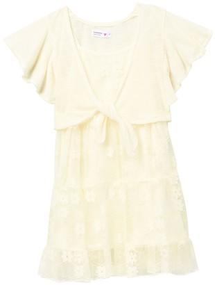 Beautees Flutter Shrug & Tiered Mesh Dress (Big Girls)
