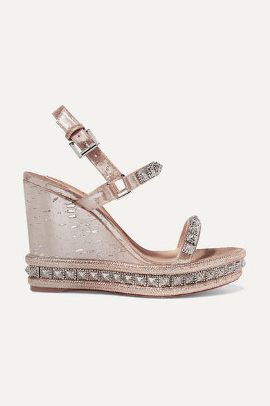 Christian Louboutin Pyradiams 110 Spiked Lame Wedge Sandals - Silver