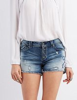 Charlotte Russe Embroidered Cut-Off Denim Shorts