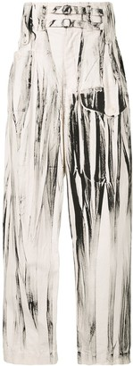 Y's Abstract Print Loose Trousers