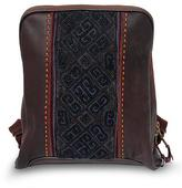 Leather and cotton backpack bag, 'Hmong Paths'