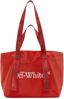 Off-White Red Nylon Small Commercial Tote