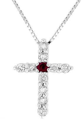 Suzy Levian 14K 0.18 Ct. Tw. Diamond & Ruby Cross Pendant