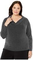 MICHAEL Michael Kors Plus Size Sparkle Stripe Cowl Long Sleeve Top (Black/Silver) Women's Clothing