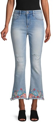 Driftwood Roxy Cropped Frayed Flare Jeans