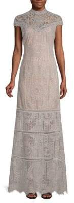 Tadashi Shoji Embroidered Mesh Lace Gown