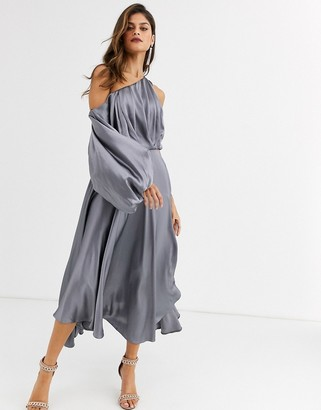 Asos Edition EDITION blouson one shoulder dress in satin-Grey