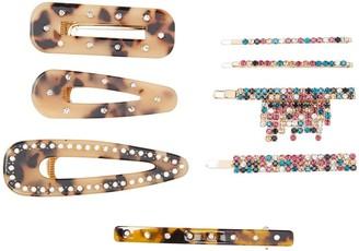 Natasha Accessories Faux Pearl Crystal Embellished Leopard Multi Clip Set