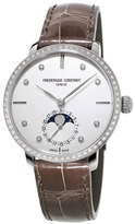 Frederique Constant Ladies' Slimline Moonphase Alligator Strap Watch w/Diamonds, Brown