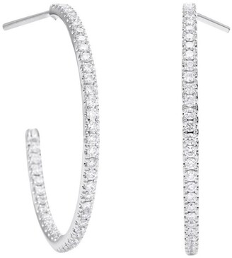 De Beers Medium White Gold and Micropave Diamond Hoop Earrings