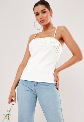 Missguided White Faux Leather Ruched Bust Cami Top