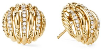 David Yurman Tides 18K Yellow Gold & Pave Diamond Stud Earrings