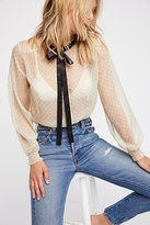 Love Sam Ditsy Dot Tie Blouse by at Free People