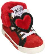 Moschino Suede & Faux Fur High Top Sneakers