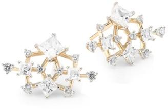 Adriana Orsini Verbena 18K Yellow Gold, Rhodium-Plated & Crystal Small Fan Post Earrings