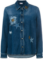 RED Valentino star-embellished denim jacket - women - Cotton/Spandex/Elastane - 38