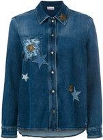 RED Valentino star-embellished denim jacket - women - Cotton/Spandex/Elastane - 42