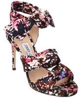 Jimmy Choo Kris 100 Print Satin Knotted Heeled Sandal.