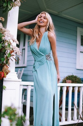 Little Mistress Grece Blue Jewel Waist Maxi Dress