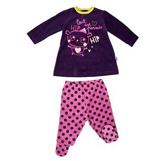 Camilla And Marc Hip Hip Baby 2-Piece Velour Pyjamas with feet - Size 9 Months (74 cm)