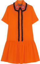 House of Holland Embellished Cotton Mini Dress - Orange