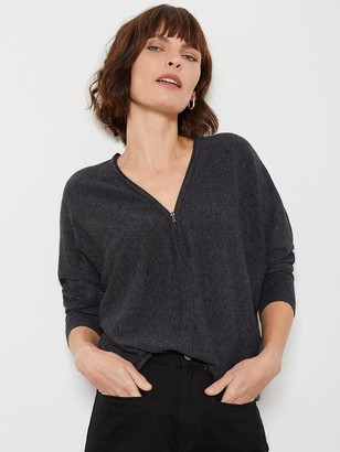 Mint Velvet Zip Batwing Jumper - Dark Grey