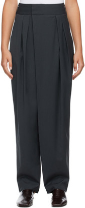 Low Classic Navy Classic Wide Tuck Trousers