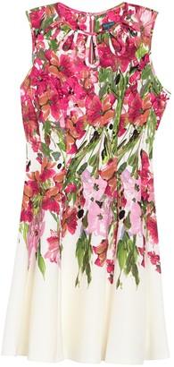 Gabby Skye Sleeveless Floral Scuba Keyhole Dress