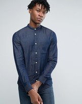Selected Long Sleeve Slim Fit Shirt with Grandad Collar in Washed Indigo