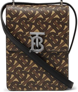 Burberry Leather-Trimmed Monogrammed Coated-Canvas Messenger Bag