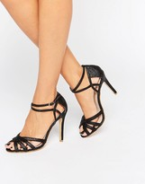 True Decadence Black Glitter Ankle Strap Heeled Sandals