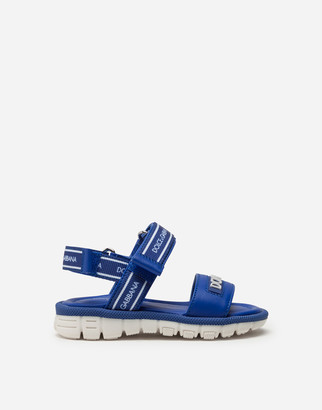 Dolce & Gabbana Beachwear Sandals In Patent Leather With Ribbon Logo