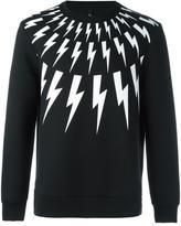 Neil Barrett lightning bolt print sweatshirt - men - Cotton/Polyurethane/Spandex/Elastane/Viscose - S