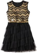 Knitworks Girls 7-16 Sequin Chevron Dress with Floral Rhinestone Necklace