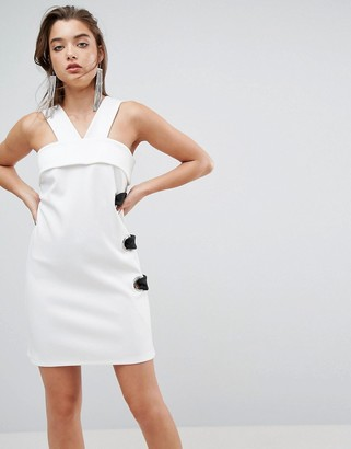 Asos Scuba Eyelet Mini Shift Dress