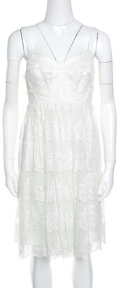 Dolce & Gabbana Off White Floral Scalloped Lace Babydoll Dress M