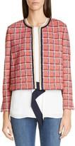 St. John Metallic Plaid Knit Crop Jacket