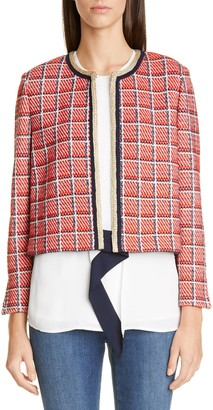 St. John Metallic Plaid Knit Crop Jacket