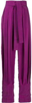 MATÉRIEL High-Rise Pleated Tie-Waist Trousers