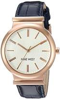 Nine West Women's NW/1948RGBL Rose Gold-Tone and Navy Blue Croco-Grain Strap Watch