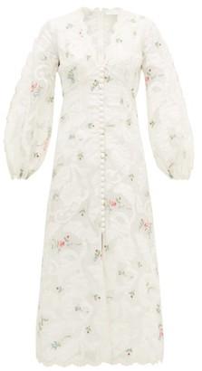 Zimmermann Zinnia Floral-embroidered Ramie-blend Dress - Womens - Cream Print