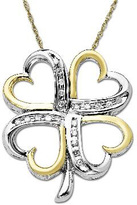 Zales 1/10 CT. T.W. Diamond Four Leaf Clover Pendant in Sterling Silver and 14K Gold