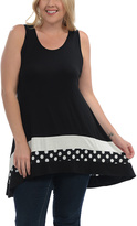 Celeste Black & White Polka Dot Hi-Low Tank - Plus