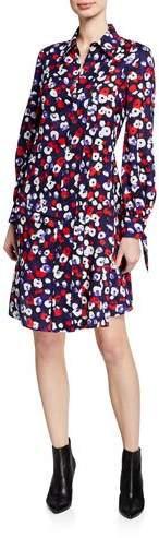 Derek Lam Floral-Print Silk Pleated Shirtdress