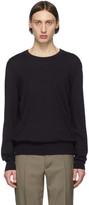 Maison Margiela Navy Leather Elbow Patch Sweater