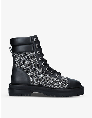 Kurt Geiger Shore tweed and leather boots