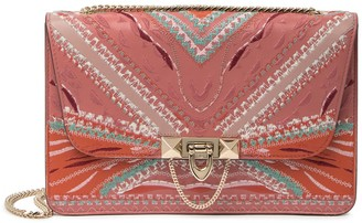 Valentino Embroidered Leather Flap Shoulder Bag