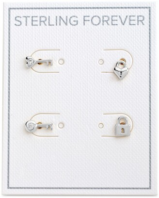 Sterling Forever Rhodium Plated Lock & Key Stud Earrings Set