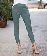 Amaryllis Women's Jeggings OLIVE - Olive Front-Slit Faux-Button Pocket Jeggings - Women & Plus
