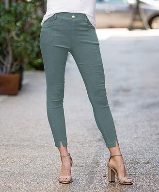 Amaryllis Women's Jeggings OLIVE - Olive Front-Slit Faux-Button Pocket Jeggings - Women & Plus
